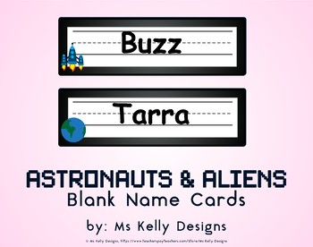 Astronauts and Aliens Blank Name Cards