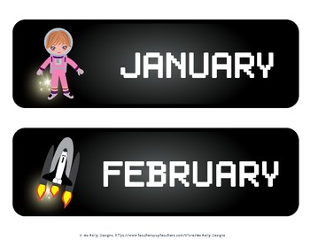 Space Astronauts and Aliens Classroom Calendar Set