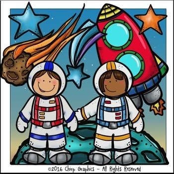 Astronauts and Rockets Outer Space Clip Art Set - Chirp Graphics