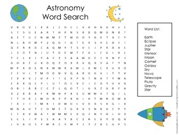 Astronomy Activity | Astronomy Science | Astronomy Word Search
