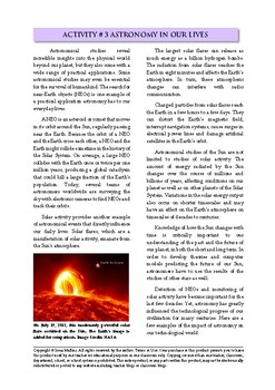 Astronomy Activity #3 Astronomy in Our Lives