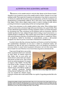 Astronomy Activity #4 The Scientific Method
