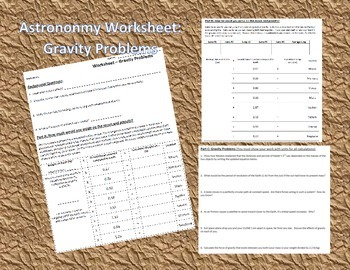 Astronomy Activity: Gravity Problems