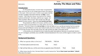 """Astronomy Activity - """"The Moon and Tides"""""""