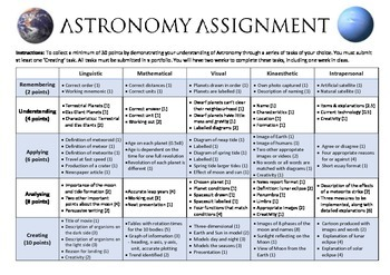 Astronomy Assignment: Choose Your Own Tasks