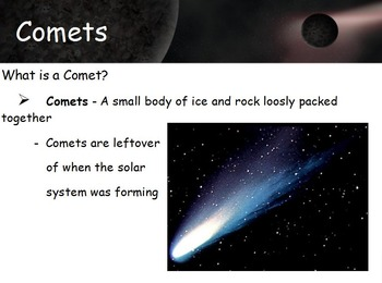Astronomy - Asteroids. Comets and Meteoroids w/worksheet (
