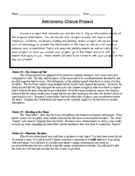 Astronomy Choice Project