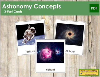 Astronomy Concepts: 3-Part Cards