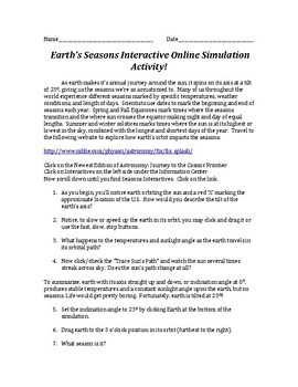Earth's Seasons INTERACTIVE Virtual Online Simulation Activity Lab!