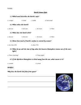 Astronomy Earth Orbit and Axis Quiz Assessment Special Education Science Test