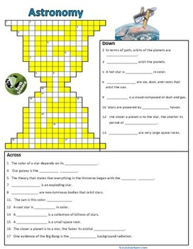 Astronomy - Fill-in-Blanks Review & Crossword Puzzle (Regents Earth Science)