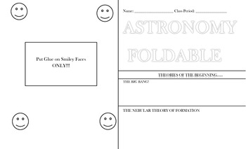 Astronomy Foldable Instructions, Template and Rubric