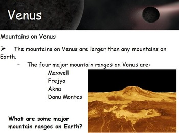 Astronomy - Inner Planets (Terrestrial Planets) w/worksheet (SMART BOARD)