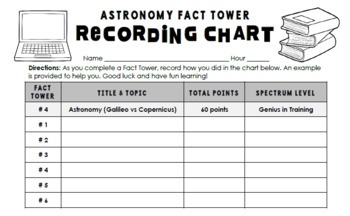 Astronomy Interactive Fact Towers Activity