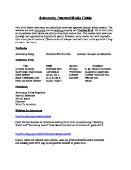 Astronomy Internet/Media Guide