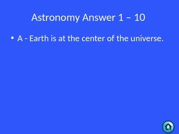 Astronomy Jeopardy Review Game