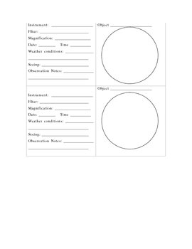 Astronomy Observing Sketch Sheets