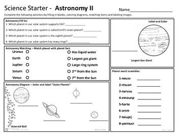 Astronomy -  Planets Science Starter - review or starter activities