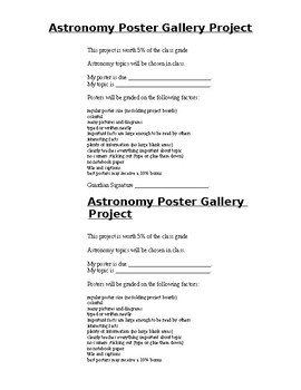 Astronomy Poster Gallery Project