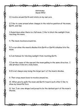 Astronomy Quick Check Worksheet