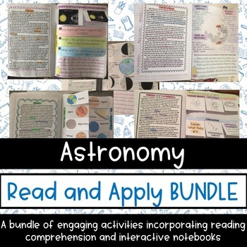 Astronomy Reading Comprehension Interactive Notebook GROWING BUNDLE