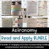 Astronomy and Solar System Reading Comprehension Interactive Notebook BUNDLE
