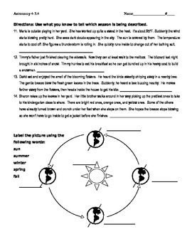 Astronomy - Reasons for the Seasons Reading Comprehension