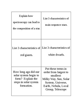 Astronomy Review Cards with Answers