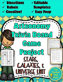 Astronomy Unit Review- Trivia Board Game (editable board game template)