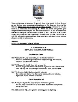 Astronomy Semester B Course Outline