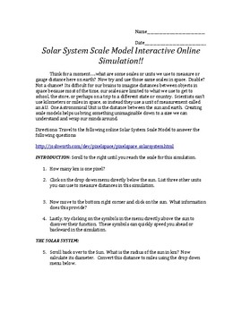 Solar System Scale Model Virtual INTERACTIVE Simulation Online Activity Lab
