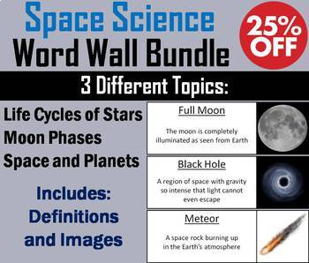 Astronomy/ Space Science Word Wall Bundle: Stars, Planets, Moon Phases