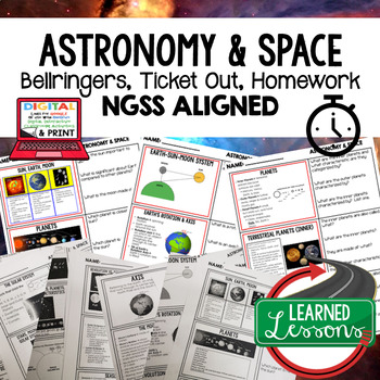 Solar System & Planets Warm Ups, Bell Ringers, NGSS 6-8 Science, Print & Digital