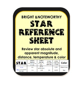 Astronomy Star Reference Sheet magnitude, temperature, color w/ review worksheet