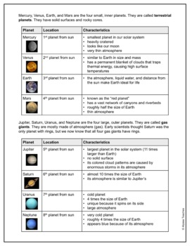 Astronomy Study Guide and Review Worksheet (SOL 4.7 & SOL 4.8)