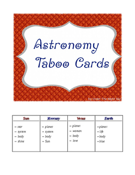 Astronomy Taboo Game