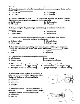 Astronomy Test:  Galaxies, Stars, Planets, Comets, Asteroids, Moon