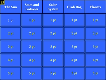 Astronomy Topics 8th Grade Science Jeopardy Game