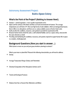 Astronomy Unit Assessment Project: Build a Space Colony Packet