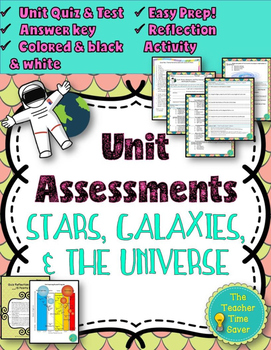 Astronomy- Stars, Galaxies, and Universe (Editable test and quiz assessments)