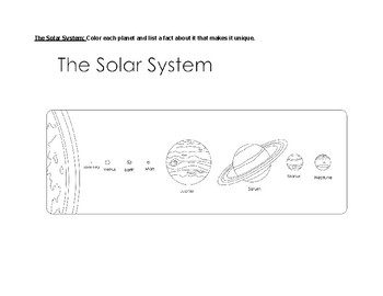 Astronomy Unit Coloring Review Sheet