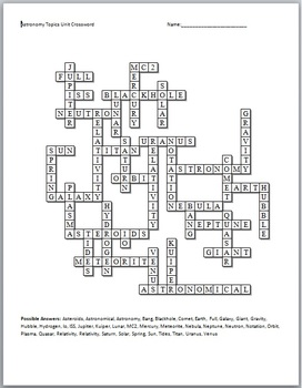 Astronomy Crossword Puzzle