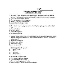 Astronomy Unit Exam