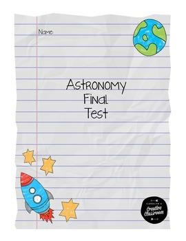 Astronomy Unit Final Test-4th Grade