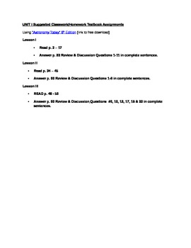 Astronomy Unit I Suggested Textbook Assignments