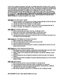 Astronomy Unit I Syllabus Outline Activators