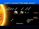 """Astronomy Unit II Lesson I PowerPoint """"The Solar System"""""""