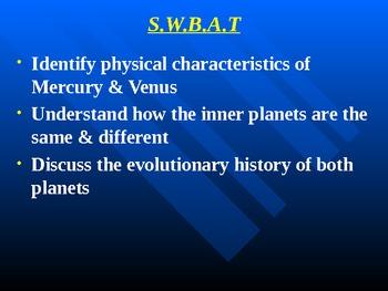 "Astronomy Unit IV Lesson I PowerPoint ""Mercury & Venus"""