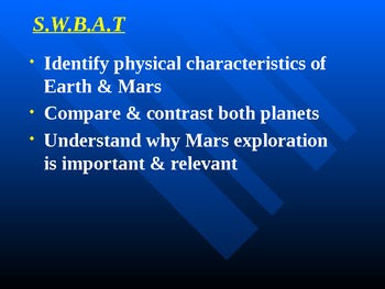 """Astronomy Unit IV Lesson II PowerPoint """"Earth & Mars"""""""