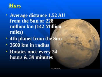 "Astronomy Unit IV Lesson II PowerPoint ""Earth & Mars"""